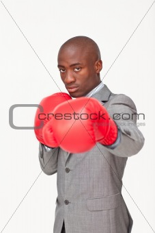 Afro-American businessman boxing