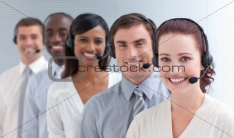 Business people working in a call center in a line