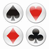 Poker card icons on white