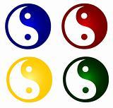 set of colorful ying and yang symbols