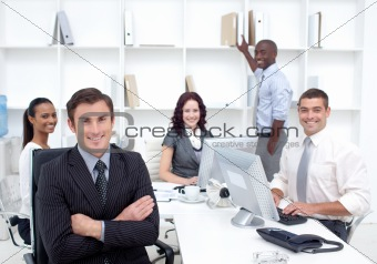 Business people smiling at the camera