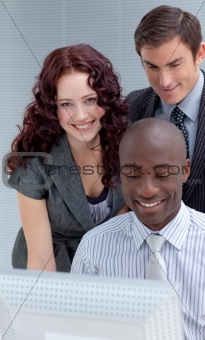 Business team working together with a project