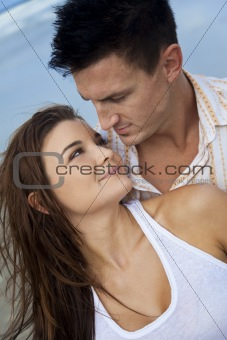 Romantic Man and Woman Couple On A Beach