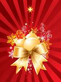 Christmas background with decorations and bow / vector
