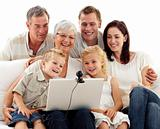 Happy family in a videoconference