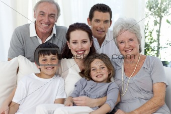Portrait of family on sofa