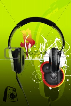 modern headphones and music urban style