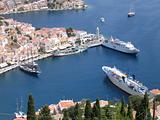 Aerial veiw on harbor of the Greek city