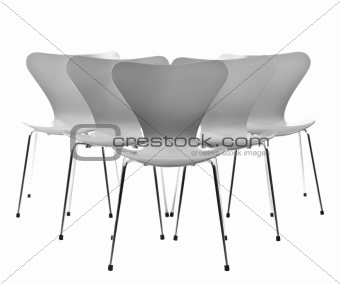 Five chairs in a formation