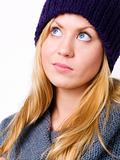 portrait of blond young teenager in winter clothes