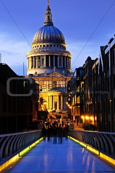 St. Paul's Cathedral  from Millennium Bridge in London at night