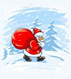 Merry Christmas Santa Claus walking in snow