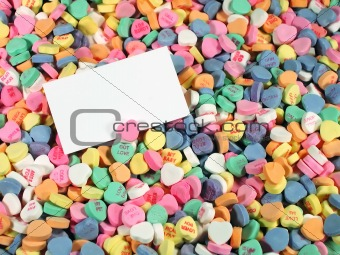 Background of Candy Hearts With Blank Card