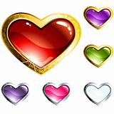 Colorful heart shaped glass buttons