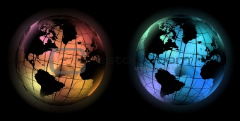 glowing world globe cold and warm color