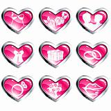 Set of pink heart-shaped valentine's day icons
