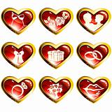 Set of red heart-shaped valentine's day icons
