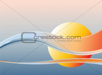 Background with sunset.