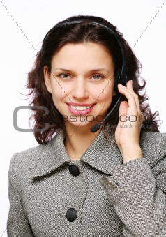 Smiling customer support operator with a headset.