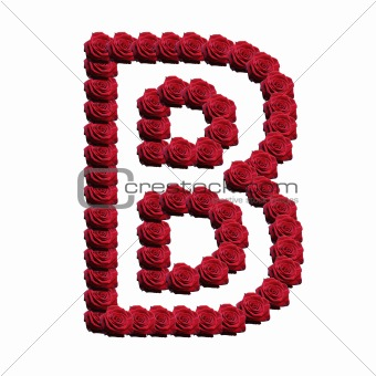 Blooming roses forming the alphabet uppercase letter B