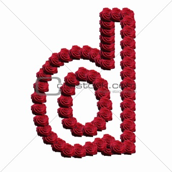 Blooming roses forming the alphabet lowercase letter d