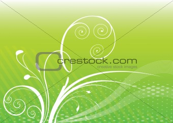 green background with white plants.