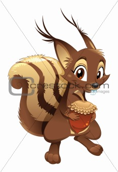 Squirrel, funny cartoon character.