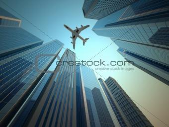 Airplane over skyscraper;