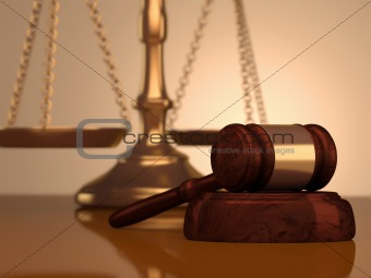 Gavel and scale of justice