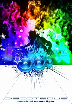 Disco Dj with Rainbow coloured Flames