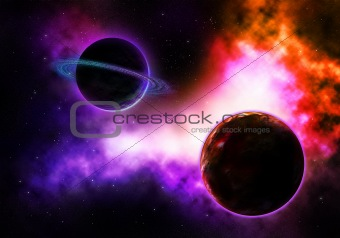 pace Planet with a Flaming Colorful Nebula