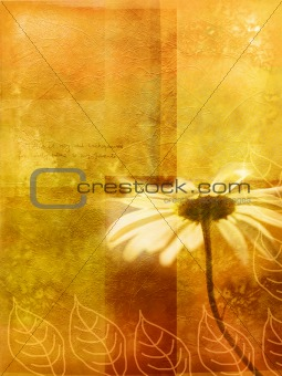 Old wall autumnal background with daisy