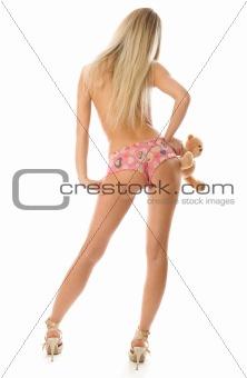 Blonde girl with little teddy bear