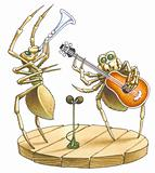 The duet of spiders blows the trumpet also to a guitar.