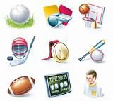 Vector cartoon style icon set. Part 33. Sport