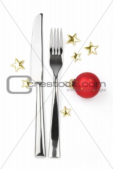 knife, fork with bauble and stars