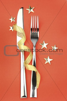 knife and fork with ribbon, stars