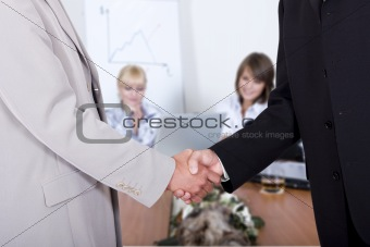 Business hand shake in the office
