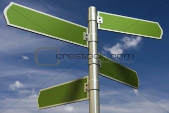3D render of signs in front of blue sky