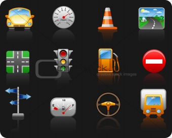 Transport and Road_black background icon set