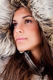 closeup shot of girl wearing woolen hat