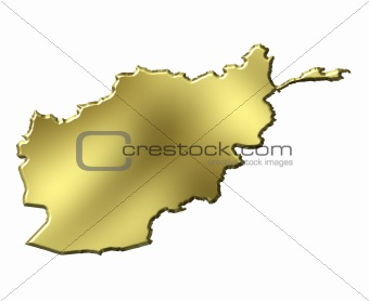 Afghanistan 3d golden map