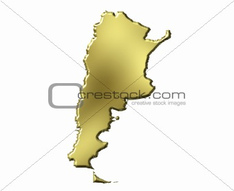 Argentina 3d Golden Map