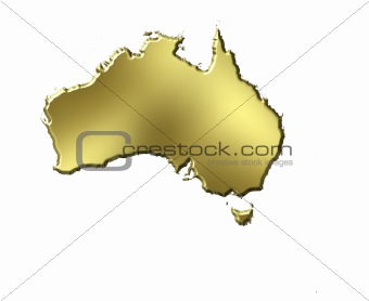 Australia 3d Golden Map