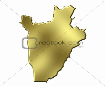 Burundi 3d Golden Map
