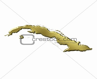 Cuba 3d Golden Map