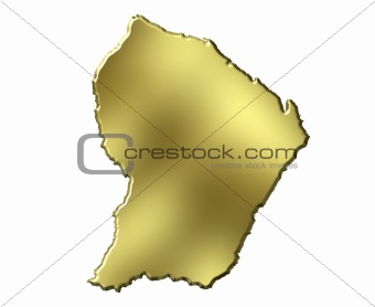French Guiana 3d Golden Map