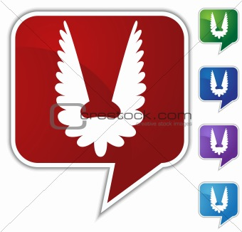 Angel Wing Button Speech Bubble