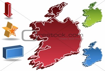 3D Ireland Country Map