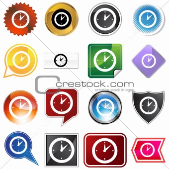 Clock Timer Variety Icon Set